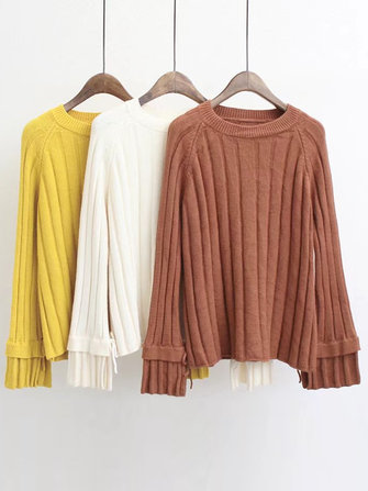 Casual Women Flared Long Sleeve Solid Color Pullover Sweater