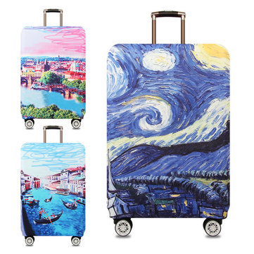Honana Scenery Elastic Luggage Cover Trolley Case Cover Durable Suitcase Protector for 18-32 Inch Case Warm Travel Accessories