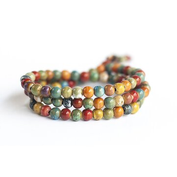 108pcs Tibetan Buddhist Bohemian Ceramic Multilayer Beaded Bracelet for Women for Men