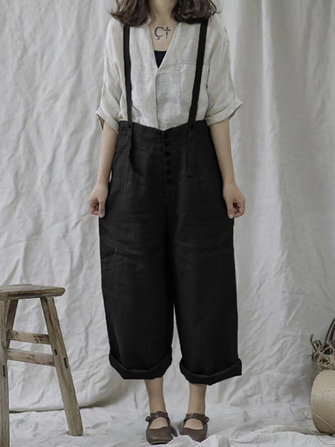 Women Strap Pants Wide Leg High Waist Pockets Overalls