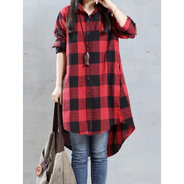 Casual Women Loose Plaid Lapel Long Sleeve High Low Shirt
