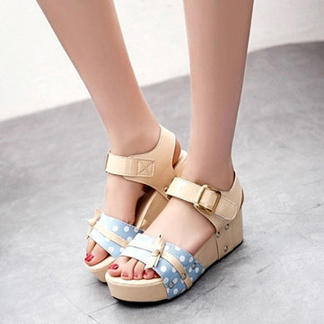 Women Summer Wedge Sandals Buckle Candy Color Platform Shoes