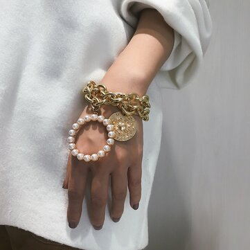 Exaggerated Crab Pearl Bracelet Hallow Metal Chain Bracelet Punk Multi Layer Bracelet For Women