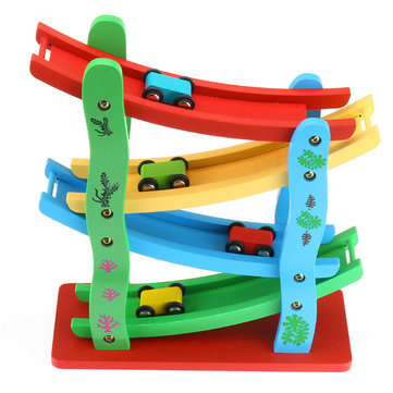 Wooden Ladder Flying Car Wood Slot Track Car Slide Model Toys For Kids Children Christmas Gift