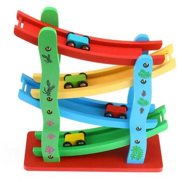 ÉchelleenboisvolantvoitureSlot en bois piste voiture diapositive modèle jouets pour enfants enfants cadeau de noël