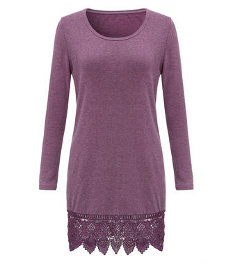 Casual Pure Color Lace Trim Crochet Patchwork Long Sleeve Women Mini Dress