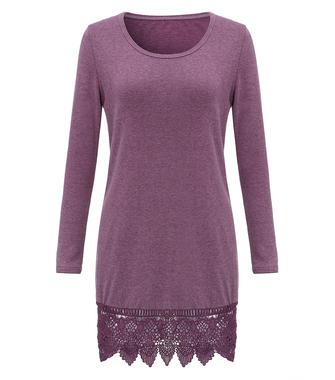 Casual Pure Color Lace Trim Crochet Patchwork Long Sleeve Women Mini Dress