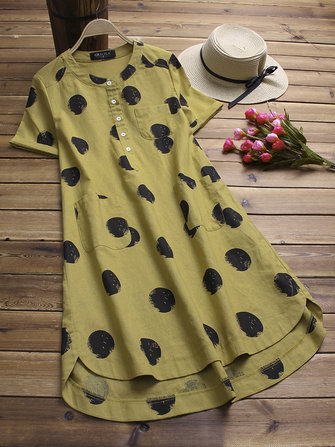 Vintage Women Polka Dot Short Sleeve Irregular Shirt Dress