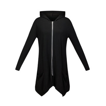 Casual Solid Black Hooded Long Sleeve Zipper Loose Women Sweatshirt