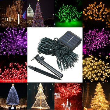 waterproof solar powered 12m 100led string fairy light garden party christmas decor