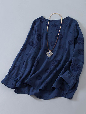 O-Neck Jacquard Blouse