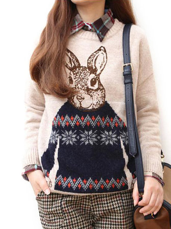 Rabbit Pattern Long Sleeve Pullover Sweater For Women