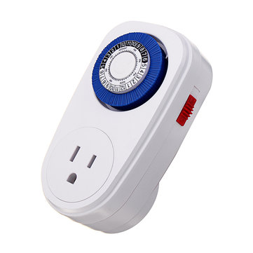 110V 15A 24 Hours Digital Countdown Timer Socket Mechanical Time Wall Plug Switch US Plug