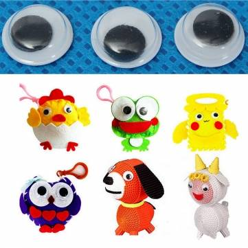 100Pcs 10mm 3D Black Moving Wiggly Wobbly Googly Eyes Children Kids DIY Bear Doll Scrapbooking Toys