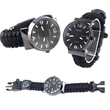 IPRee®5В1EDCSurvival Compasss Bracelet Watch Camp Emergency Nylon Paracord Wristband