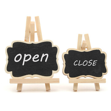 10pcs/set Mini Wooden Triangle Stand Message Blackboard Memo Crafts Office Decoration Supplies