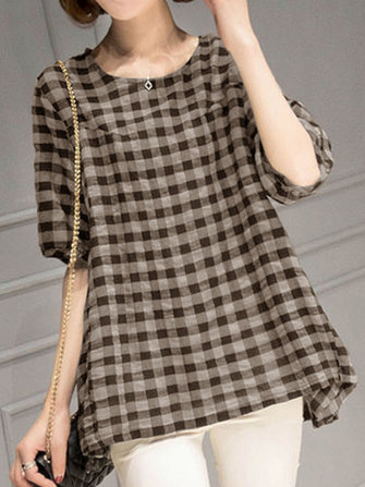 Women Short Sleeve O-neck Plaid Blouse