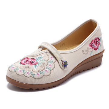 Flower Embroidery Comfortable Soft Flats