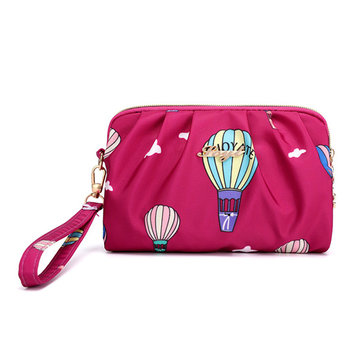 Women Nylon Waterproof Print Clutch Bag Handbag 5.5 Inches Phone Bag