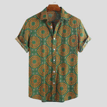 Mens Vintage Ethnic Style Pattern Printing Casual Summer Shirts