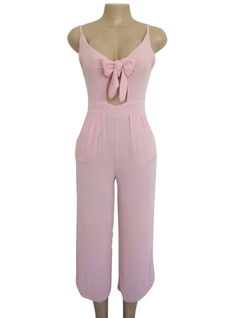 Sexy Women V-Neck Wide Leg Spaghetti Strap Jumpsuit with Bow