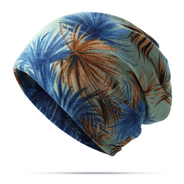 Women Cotton Printing Leaf Beanies Cap and Scraf