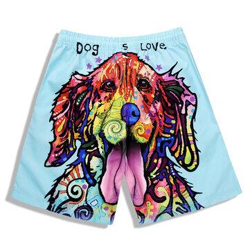 S5265 Beach Shorts Board Shorts 3D Love Dog Printing Fast Drying Waterproof Elasticity