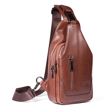 Men Genuine Leather Sling Bag Business Crossbody Shoulder Bag