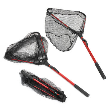 ZANLURE Aluminum Alloy 80cm Single Triangular Ultra-Light Folding Handle Fishing Landing Net