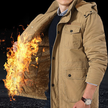 Men Winter Fleece Thickened Warm Removable Hood Parka Jacket