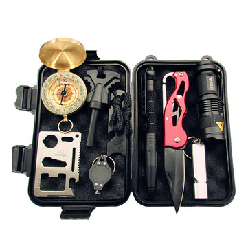 SOS Equipment Adventure Survival Blanket Tool Kit Multi-function Survival Compass First-aid Box