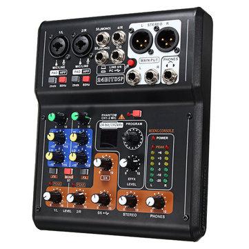 6-Channel Pro Live Studio Audio Sound USB Mixer Mixing Console Phantom Power