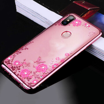 Bakeey Diamond Plating Clear Cover Soft TPU Flower Protective Case For Xiaomi Mi 8 Mi8 6.21 inch