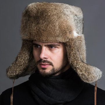 Men Middle-aged Faux Rabbit Fur Trapper Hat Russian Cap