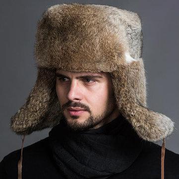 Men Middle-aged Faux Rabbit Fur Trapper Hat Windproof Earmuffs Foldable Russian Trooper Cap