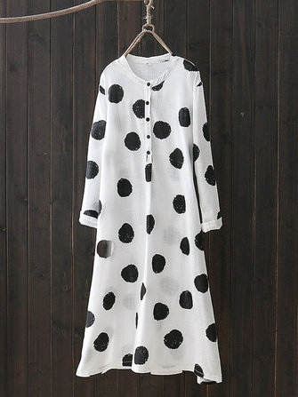 Vintage Polka Dots Long Sleeve Shirt Dresses For Women
