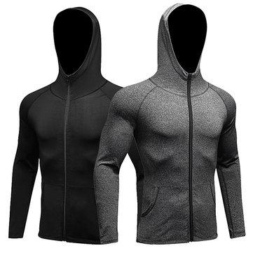 Mens Sports การออกกำลังกาย ชุดลำลองชุดลำลองชุดลำลองสูทแขนยาวแบบ Breathable Quick-Drying Zipper Hoodies