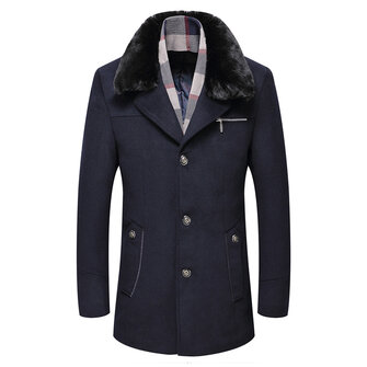 Mens Woolen Warm Coat Fleece Lining Thick Trench Coats