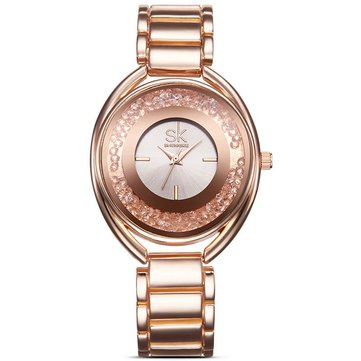 SK K0016 Luxury Women Bracelet Watches with Diamond Golden Watch Band Jewelry Ladies Watches