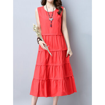 Casual Women Pure Color Sleeveless Pleated Midi Dress