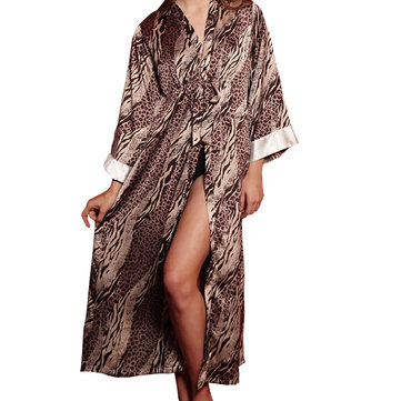 Women Comfy Long Sleepwear Sexy Leopard Loose Ladies Sleep Gown