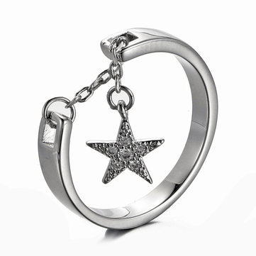 JASSY® 925 Sterling Silver Star Charm Ring Charming Engagement Ring Adjustable Open Silver Ring