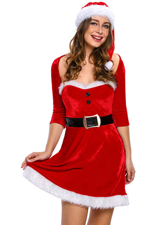 Slim Women Christmas Cosplay Costumes Set Long Sleeve Mini Dress