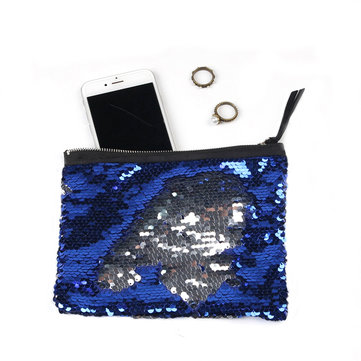 Ladies Double Sequin Clutches Bag Makeup Storage Pack Zipper Square Coin Purses