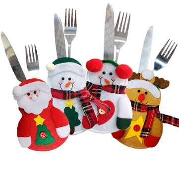 Christmas Party Home Table Decoration Snowman Elderly Ek Knife Fork Bag Cover Suit Toys Kids Gift