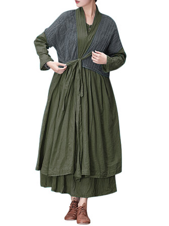 Vintage Loose Solid Color Front Belt Long Sleeve Dress