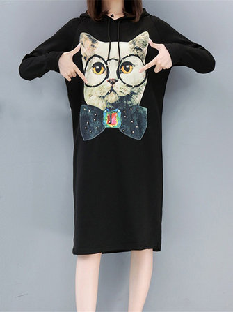 Casual Women Cartoon Cat Printed Long Sleeve Hooded Sweatshirt Dress