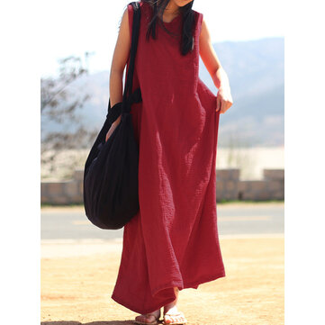 Women Sleeveless V Neck Vintage Baggy Long Maxi Dress
