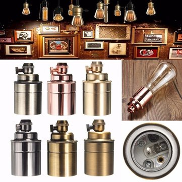 E27/E26 Solid Brass Retro Vintage ES Edison Light Socket Lamp Bulb Holder Decor
