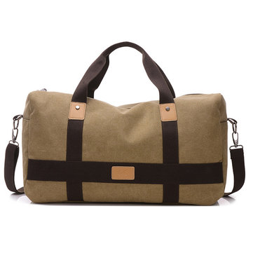 Men Canvas Large Capacity Weekender Bag Handbag Leisure Travel Crossbody Bag Shoulder Bag